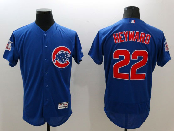 mens majestic chicago cubs #22 jason heyward blue Flex Base jersey