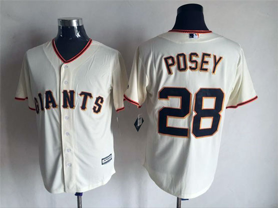 Mens Majestic San Francisco Giants #28 Buster Posey Cream Cool Base Jersey