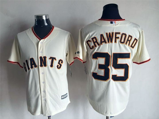Mens Majestic San Francisco Giants #35 Crawford Cream Flexbase Collection Jersey