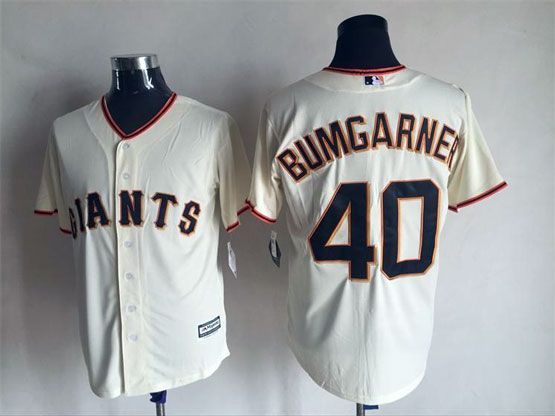 mens majestic san francisco giants #40 madison bumgarner cream Flex Base jersey