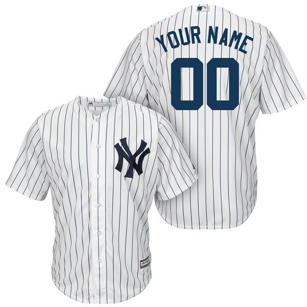 Mens Majestic New York Yankees White Stripe Cool Base Jersey