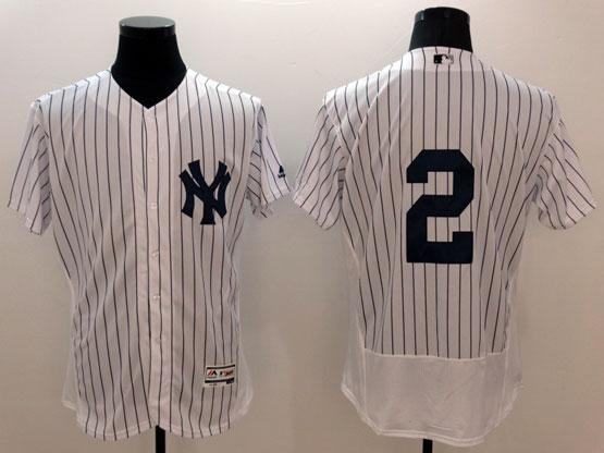 Mens Majestic New York Yankees #2 Derek Jeter White Stripe Flexbase Collection Jersey