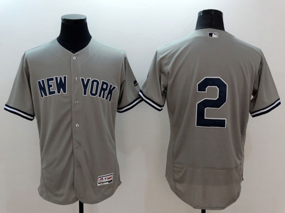 mens majestic new york yankees #2 derek jeter gray Flex Base jersey