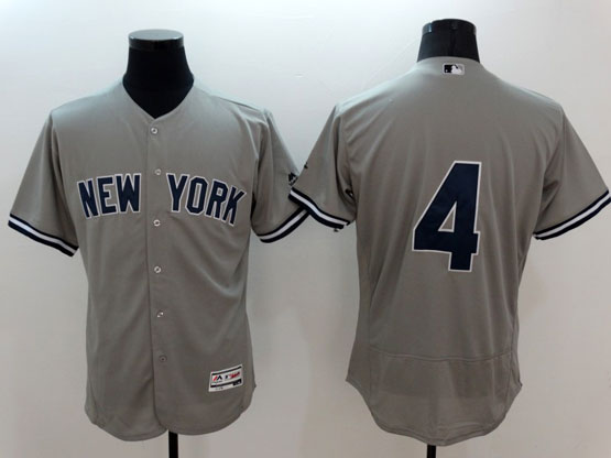mens majestic new york yankees #4 gehrig gray Flex Base jersey