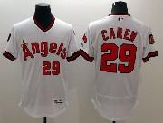 mens majestic los angeles angels #29 carew white Flex Base jersey