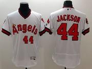 mens majestic los angeles angels #44 reggie jackson white Flex Base jersey