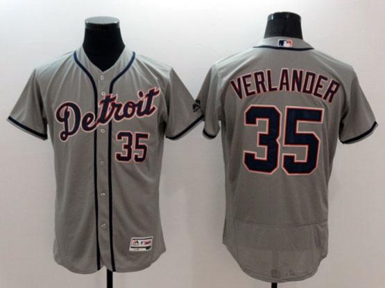mens majestic detroit tigers #35 verlander gray Flex Base jersey