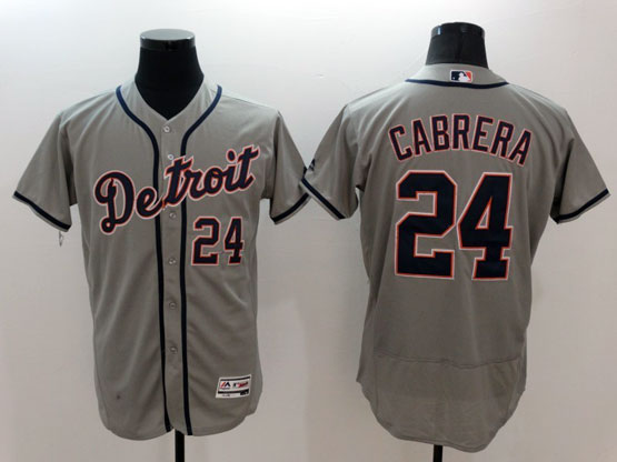 mens majestic detroit tigers #24 miguel cabrera gray Flex Base jersey