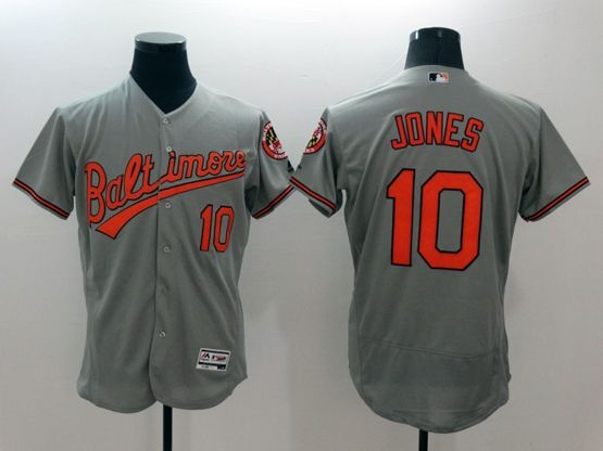 mens majestic baltimore orioles #10 adam jones gray Flex Base jersey