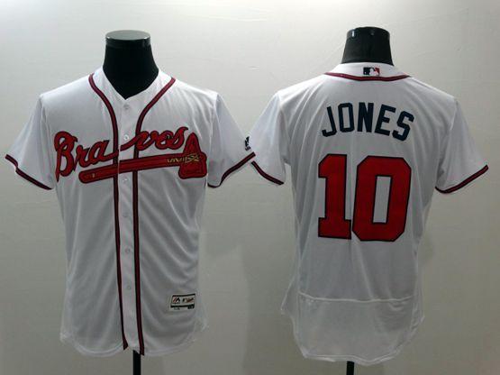 Mens Majestic Atlanta Braves #10 Chipper Jones White Flexbase Collection Jersey