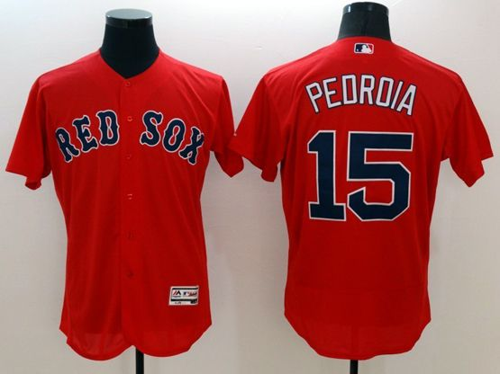 mens majestic boston red sox #15 dustin pedroia red Flex Base jersey