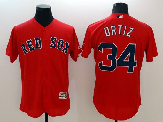 Mens Majestic Boston Red Sox #34 David Ortiz Red Flexbase Collection Jersey