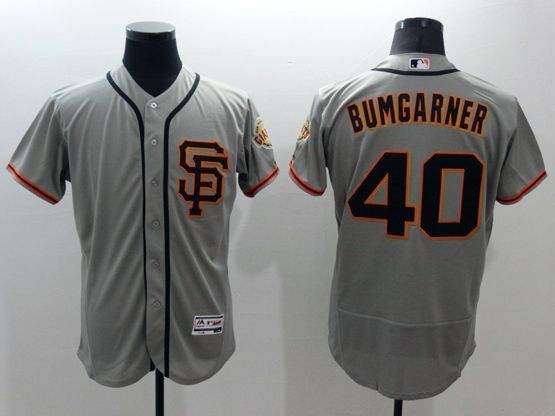 mens majestic san francisco giants #40 madison bumgarner gray Flex Base jersey