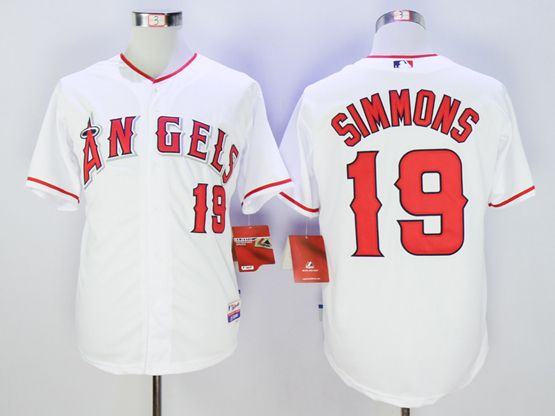 Mens Mlb Los Angeles Angels #19 Andrelton Simmons White Jersey