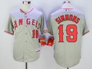 Mens Mlb Los Angeles Angels #19 Andrelton Simmons Gray Jersey