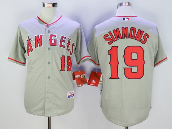 Mens Mlb Los Angeles Angels #19 Andrelton Simmons Gray Jersey