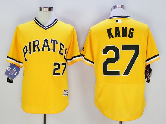 Mens Majestic Pittsburgh Pirates #27 Jung-ho Kang Gold Flexbase Collection Jersey
