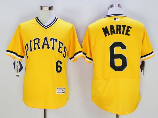 Mens Majestic Pittsburgh Pirates #6 Starling Marte Gold Flexbase Collection Jersey
