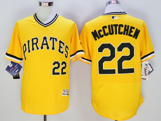 mens majestic pittsburgh pirates #22 andrew mccutchen gold Flex Base jersey