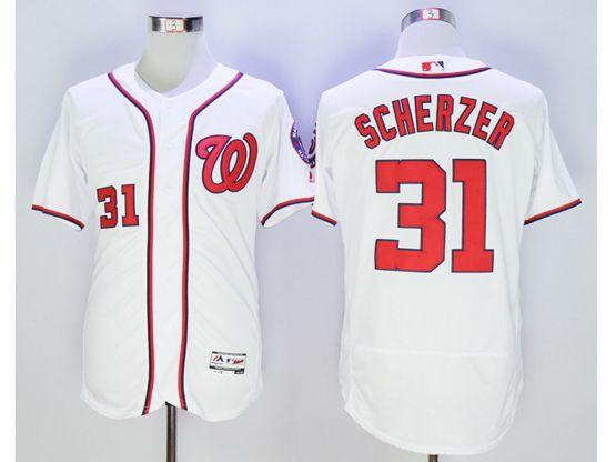 Mens Mlb Washington Nationals #31 Max Scherzer White Flex Base Jersey