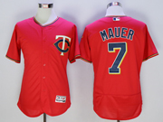 mens mlb minnesota twins #7 joe mauer red Flex Base jersey