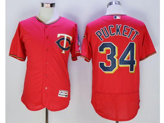 mens mlb minnesota twins #34 kirby puckett red Flex Base jersey
