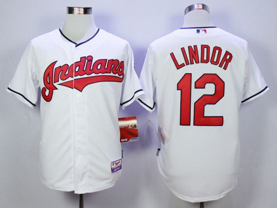 Mens Mlb Cleveland Indians #12 Francisco Lindor White Cool Base Jersey