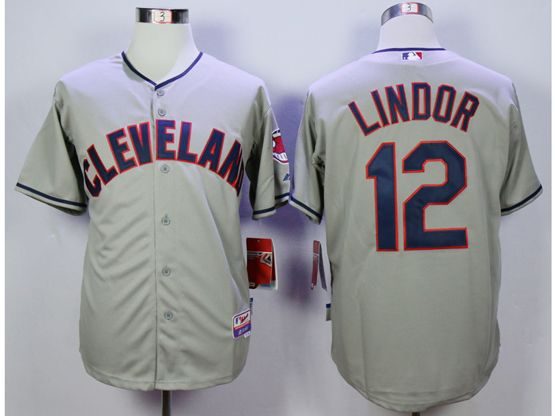 Mens Mlb Cleveland Indians #12 Francisco Lindor Gray Cool Base Jersey