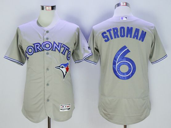 Mens Majestic Toronto Blue Jays #6 Marcus Stroman Gray Flexbase Collection Jersey