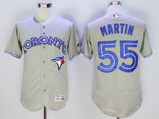 Mens Majestic Toronto Blue Jays #55 Russell Martin Gray Flexbase Collection Jersey
