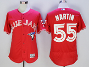 mens majestic toronto blue jays #55 russell martin red Flex Base jersey