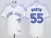 mens majestic toronto blue jays #55 russell martin white Flex Base jersey