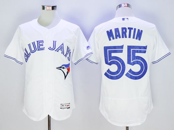 mens majestic toronto blue jays #55 russell martin white Flex Base jersey