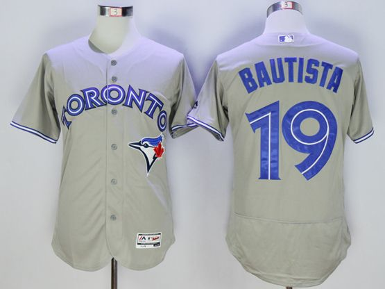 mens majestic toronto blue jays #19 jose bautista gray Flex Base jersey