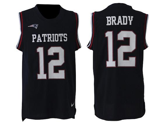 mens nfl New England Patriots #12 Tom Brady blue tank top jersey