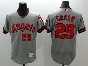 mens majestic los angeles angels #29 carew gray Flex Base jersey