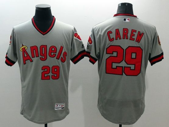 mens majestic los angeles angels #29 carew gray Flex Base jersey