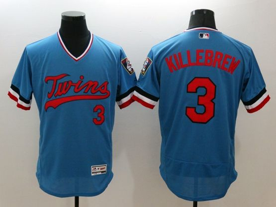 mens majestic minnesota twins #3 killebrew blue Flex Base jersey