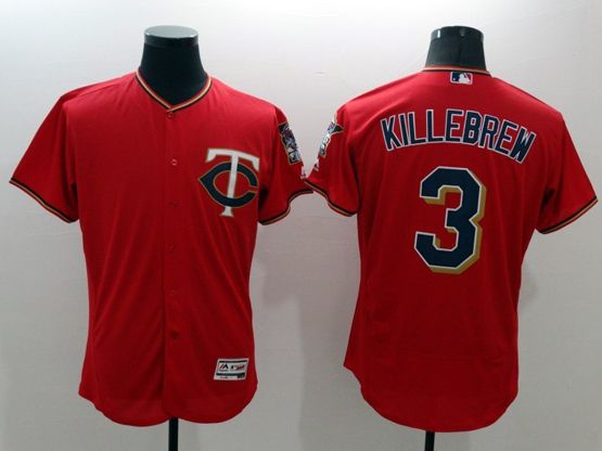 mens majestic minnesota twins #3 killebrew red Flex Base jersey