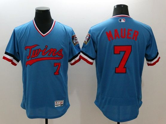 mens majestic minnesota twins #7 mauer blue Flex Base jersey