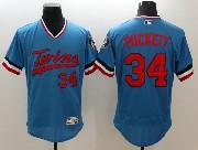 Mens Majestic Minnesota Twins #34 Kirby Puckett Blue Flex Base Pullover Jersey