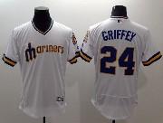 mens majestic seattle mariners #24 griffey white Flex Base jersey