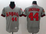 mens majestic los angeles angels #44 reggie jackson gray Flex Base jersey