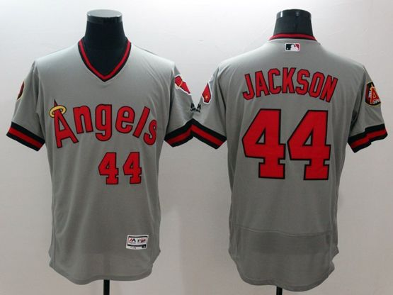Mens Majestic Los Angeles Angels #44 Reggie Jackson Gray Flexbase Collection Jersey