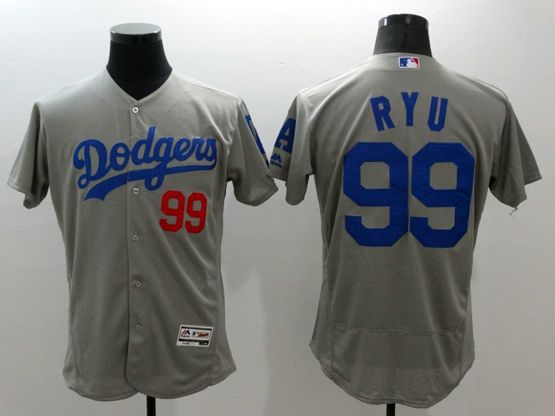 mens majestic los angeles dodgers #99 hyun-jin ryu gray Flex Base jersey