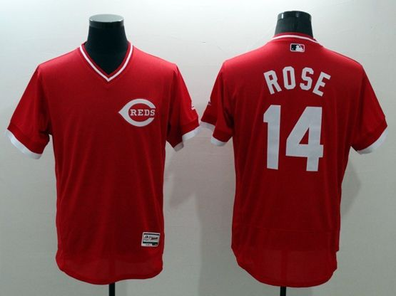 mens majestic cincinnati reds #14 pete rose red Flex Base jersey