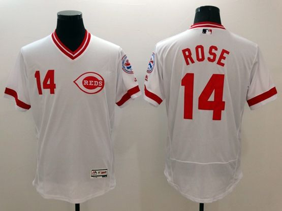 Mens Majestic Cincinnati Reds #14 Pete Rose White Pullover Flex Base Jersey