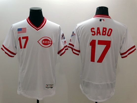 Mens Majestic Cincinnati Reds #17 Chris Sabo White Pullover Flex Base Jersey