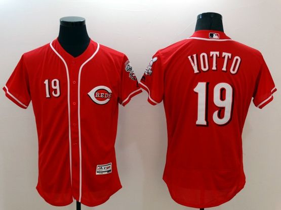 mens majestic cincinnati reds #19 joey votto red Flex Base jersey