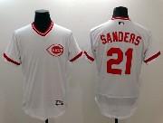 mens majestic cincinnati reds #21 sanders white Flex Base jersey